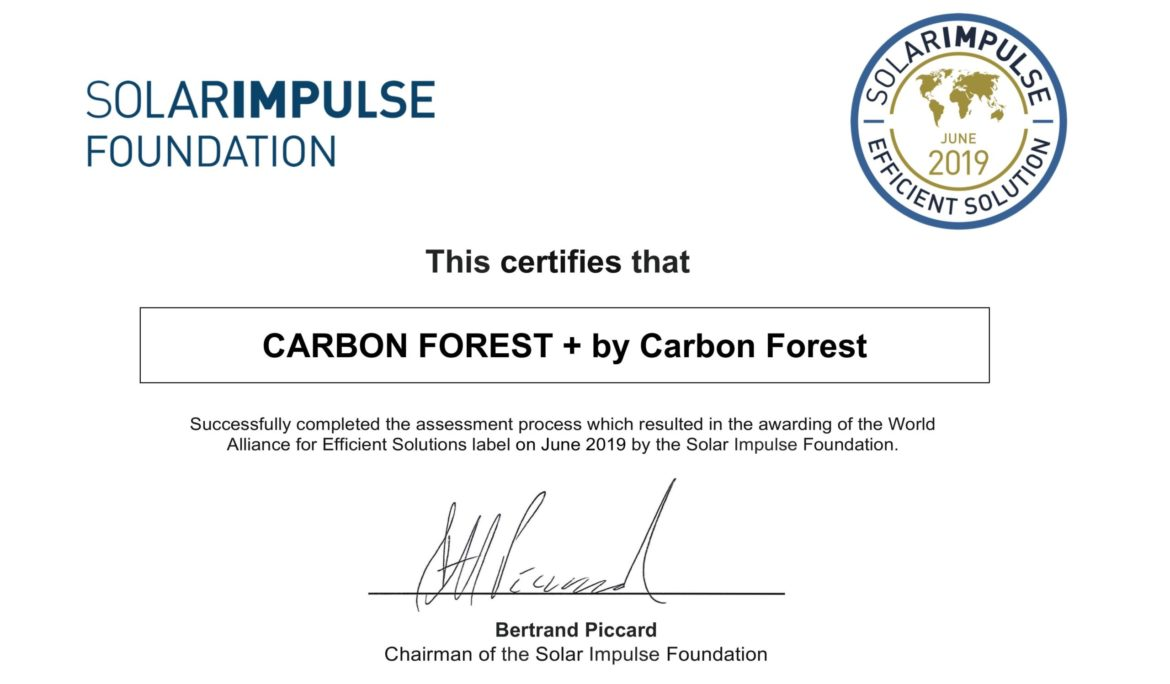 Carbon Forest : getting the Solar Impulse certificate